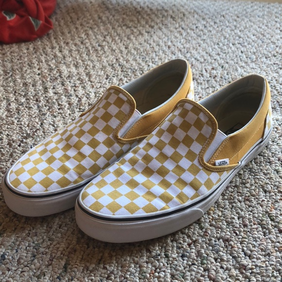 Yellow and white checkered vans slip ons. M 5a6a489f3316272ea93176d5 19b94065b